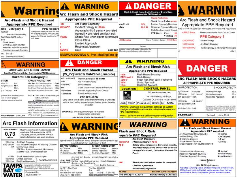 arc flash label template samples