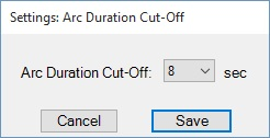Arc Duration Cut-Off popup